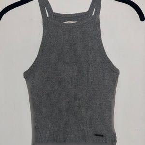 Gray Halter Crop Top - Small